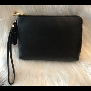Talbots Black Pebble Leather Wristlet